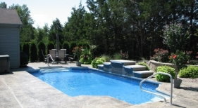 Fiberglass Pool with Sheer Descents