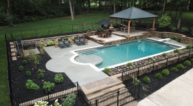 Geometric Pool with Patio Cover