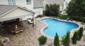 Freeform Pool with Covered Patio Area