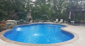 Freeform Pool with Deck Jets