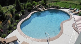 Chesterfield kidney St Louis county pool vinyl shotcrete gunite water feature freeform