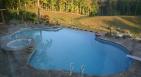 Freeform Lincoln County Troy MO main drain diving board hot tub stamped deck