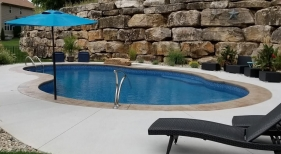 Freeform Pool with Umbrella Stand
