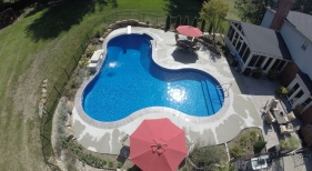 overhead view of freeform vinyl pool