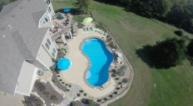 overhead view of vinyl freeform pool